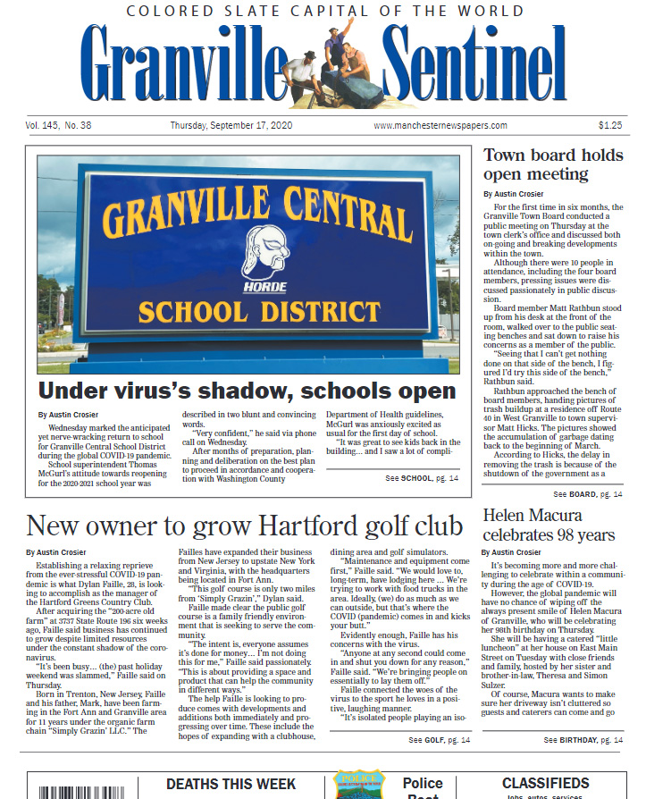 Granville Sentinel front page September 17, 2020 edition