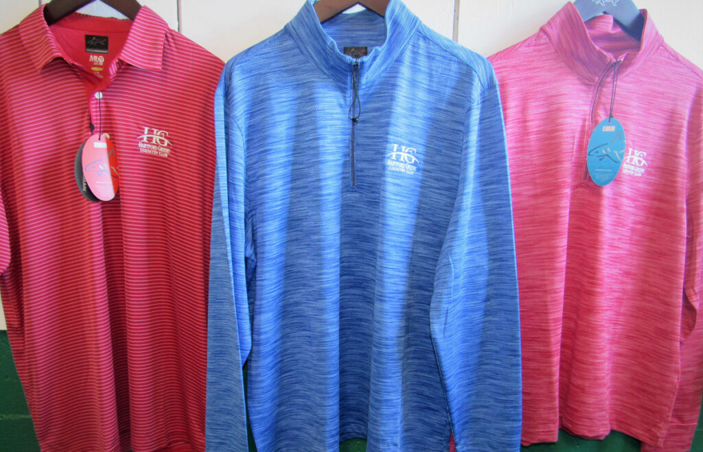 Hartford Greens Country Club Long sleeve and short sleeve Hartford Greens Country Club Greg Norman Collection golf shirts