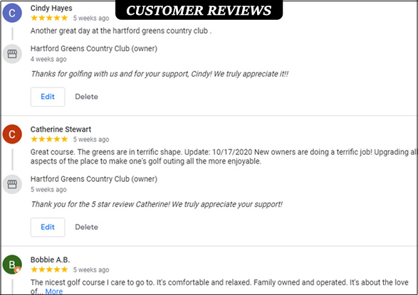 Google reviews- Hartford Greens Country Club online customer reviews