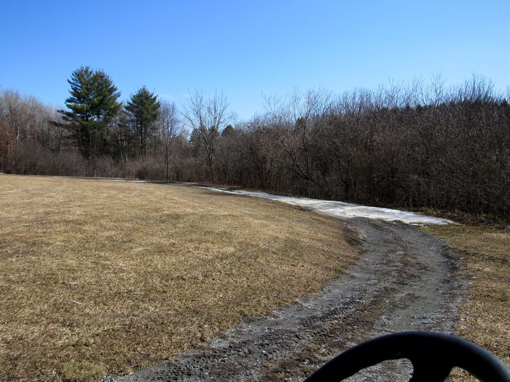 Currently, the cart path still has some snow, but course will be open to walkers on April 1, 2021.