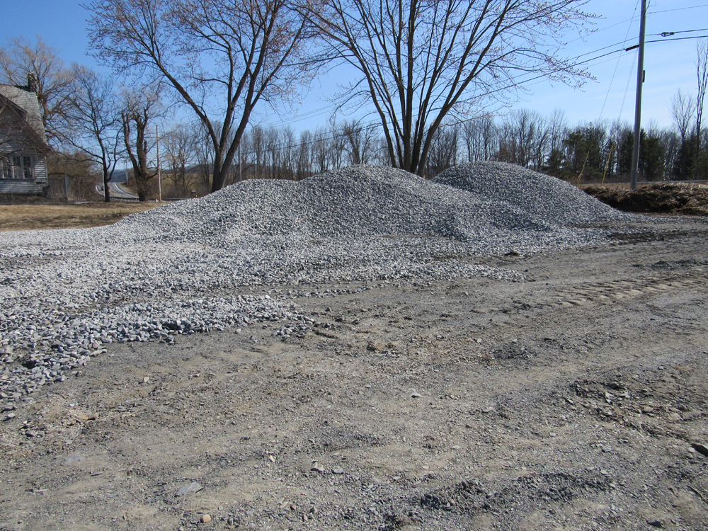 Stone delivered to be laid in cart path