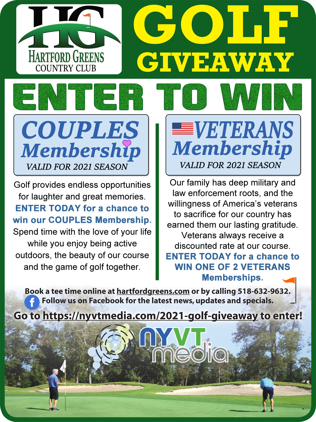 Enter Hartford Greens Country Club Golf Membership Giveaway Contest