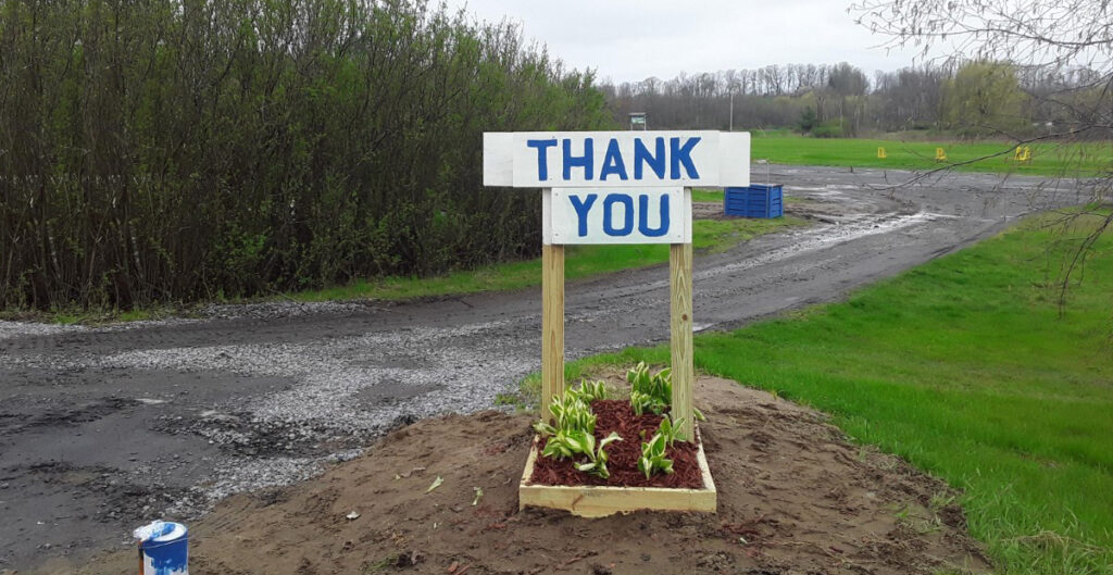 Thank You sign- made by Event Coordinator, Gary Scrime